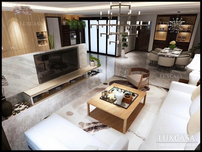 Bố trí phòng khách chung cư phong cách mở