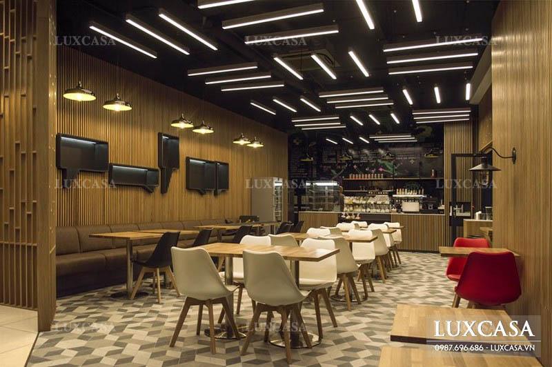 thiết kế trang trí quán ăn nhanh với vật liệu độc đáo