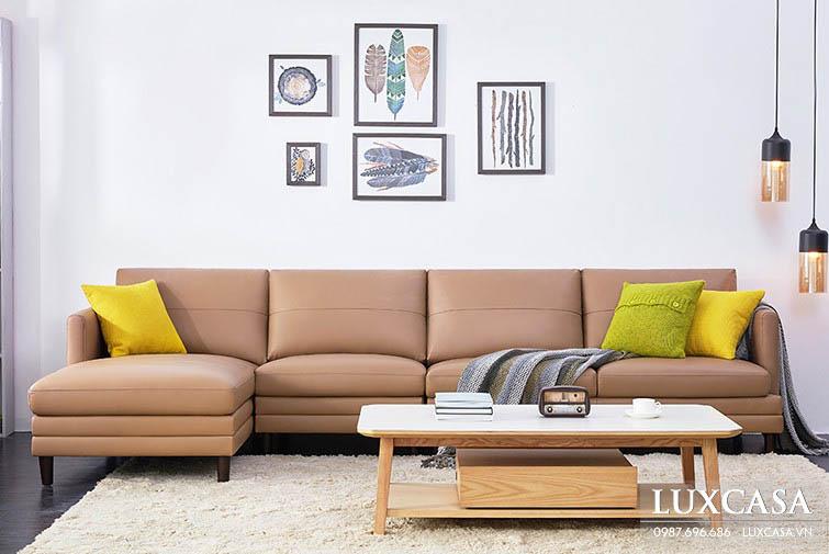 Ghế sofa tiếp khách bọc da hiện đại