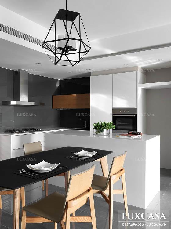 Thiết kế cải tạo phòng khách thông bếp chung cư hiện đại