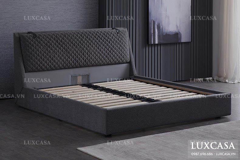 Giường bọc nỉ khung gỗ kiểu mới