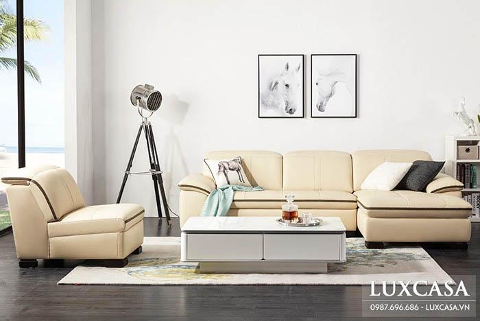 Set sofa góc da hiện đại