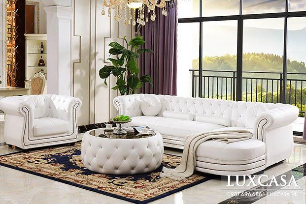 Sofa tân cổ điển cao cấp màu trắng STC105