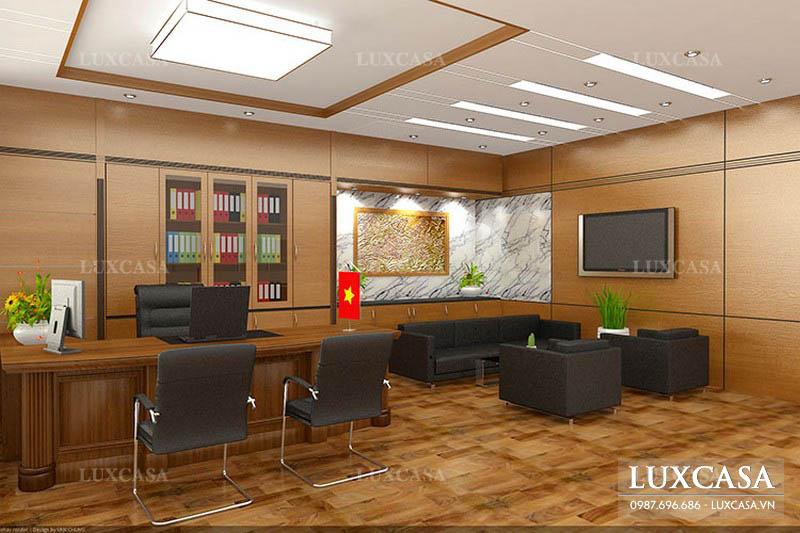 Thiết kế nội thất văn phòng giám đốc với đồ đặt hàng riêng