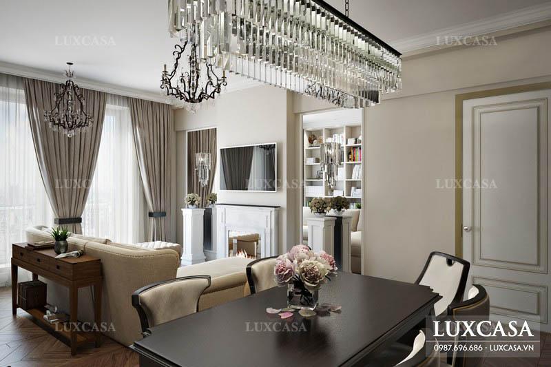 Mẫu nội thất chung cư cao cấp phong cách tân cổ điển